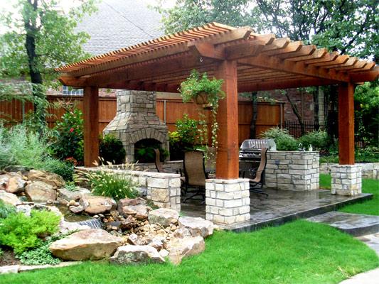 Large Beam Pergola with Fireplace and Kitchen - Paver Installation, Pergola, Patio, Water Feature, Tulsa, Oklahoma, OK