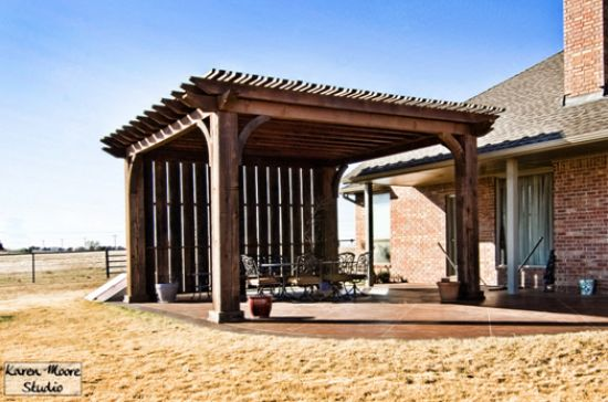 Freestanding Pergola With 12x12 Posts And Shade Wall