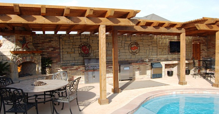 Three Tiered Pergola And Outdoor Living Area