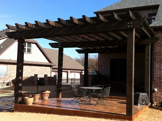 Awesome Large Pergola And Patio With Stained Concrete