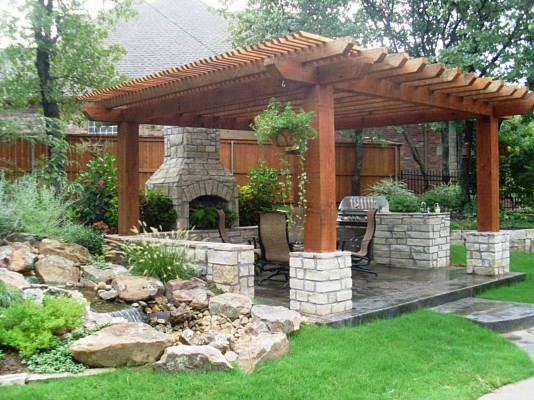 Large Beam Pergola, Fireplace And Bull BBQ Grill