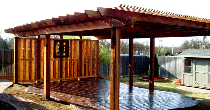 Pergola With shadow Box Side Screen Over a Stamped Concrete Patio - Paver Installation, Pergola, Patio, Water Feature, Tulsa, Oklahoma, OK