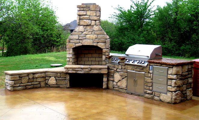 Outdoor-Kitchen-With-Fireplace. Outdoor Kitchen Fireplace